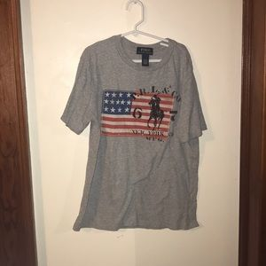 Boys Youth 10-12 Ralph Lauren gray flag t shirt